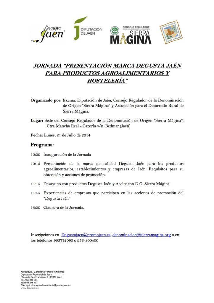 Programa Jornadas Degusta en Bedmar 21-07