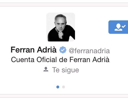 Ferran Adrià sigue la cuenta Adriacatedra