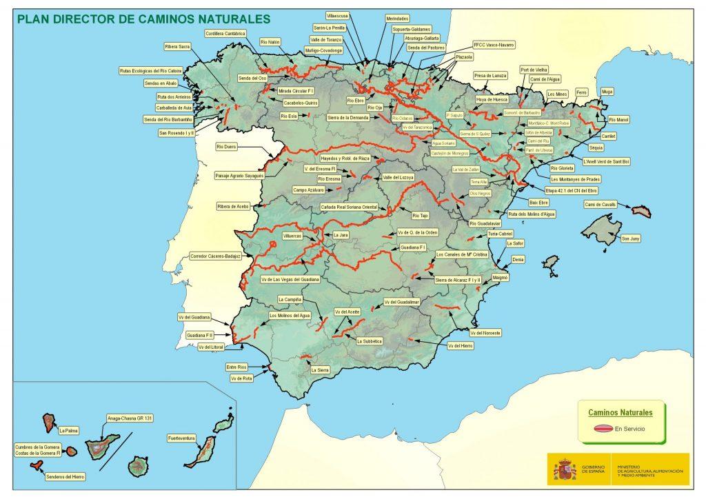 Mapa Caminos Naturles en servicio